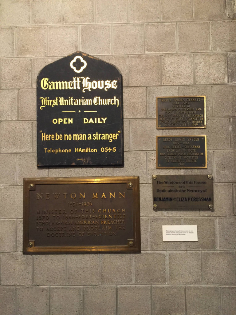 Original Plaques from the First Unitarian Church of Rochester