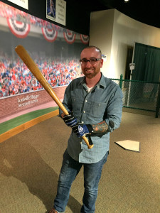Me and Mickey Mantle's 1961 bat the Louisville Slugger Museum in Kentucky