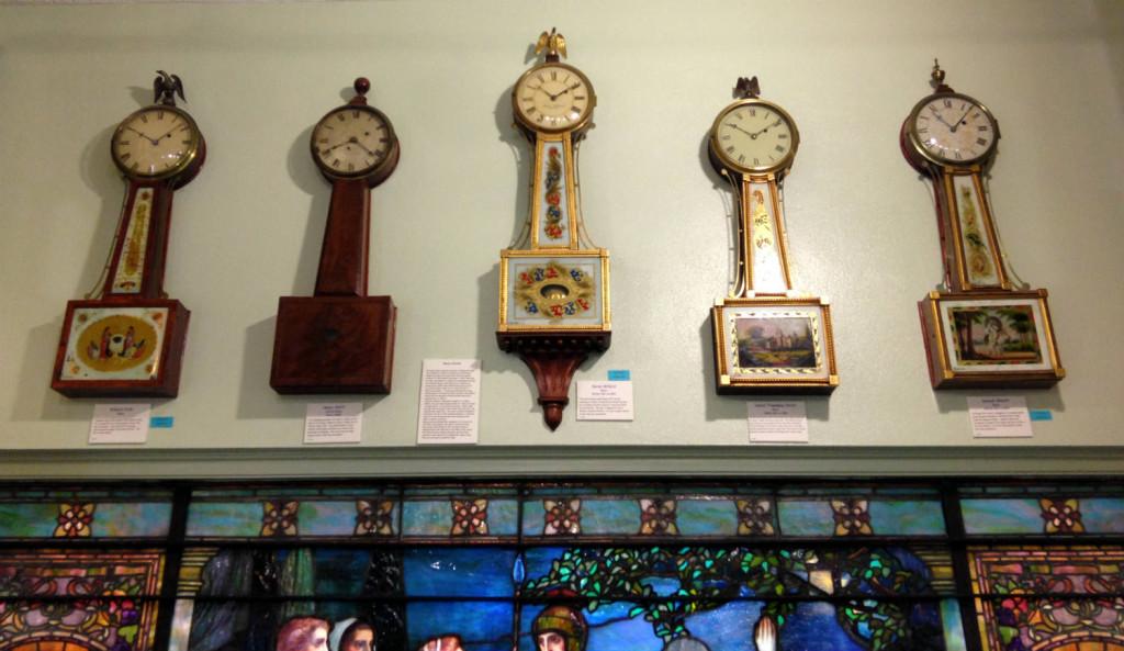 Banjo Clocks in the Hoffman Clock Museum in Newark, New York
