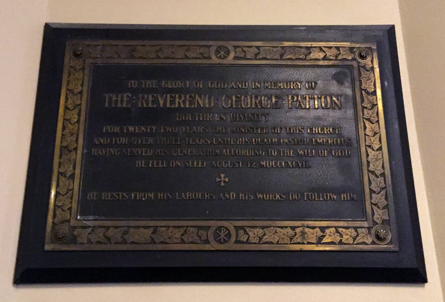 Reverend George Patton Plaque in Third Presbyterian Church in Rochester, NY
