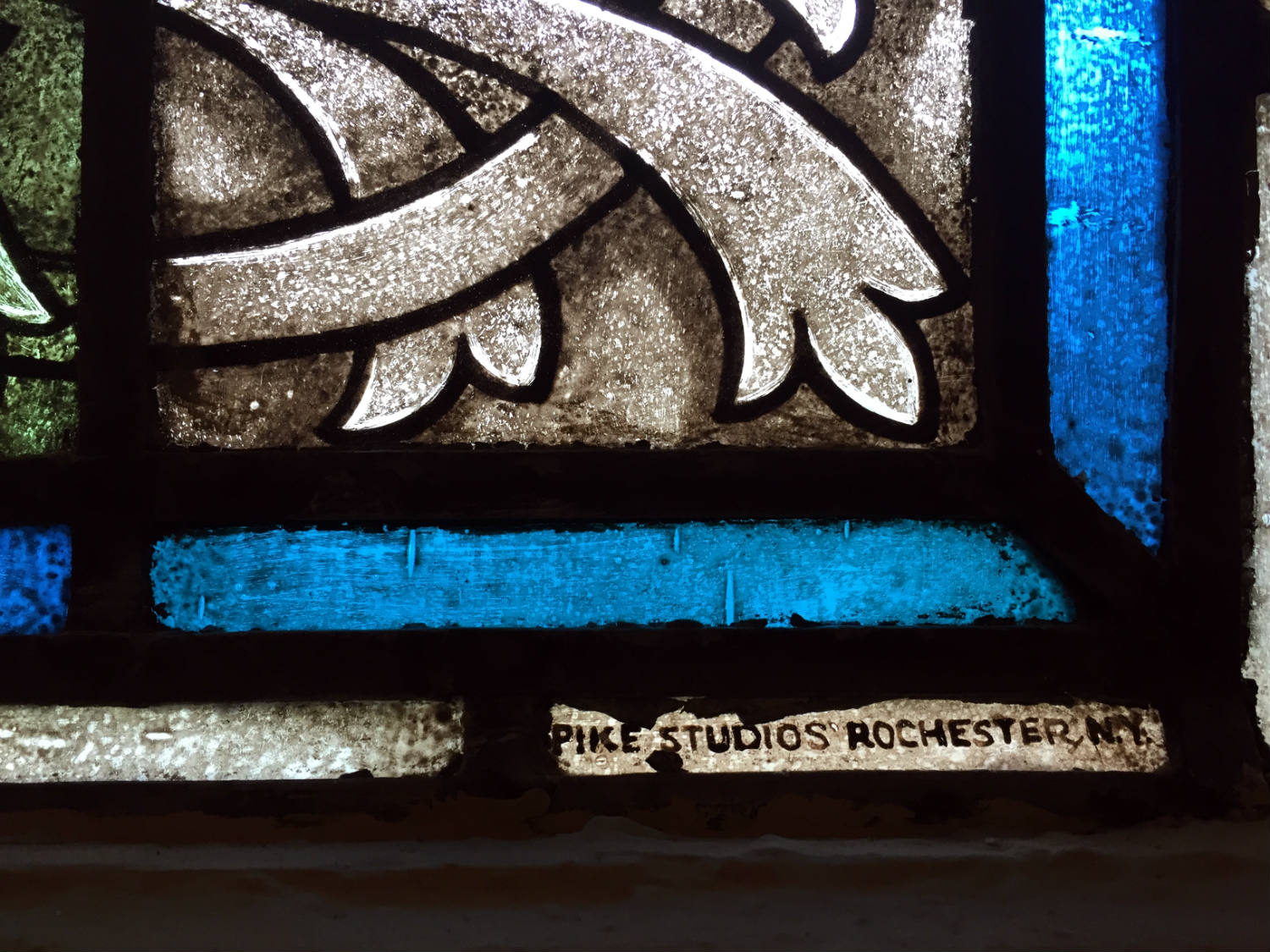 Pike Stained Glass Signature on Window in Rochester, NY