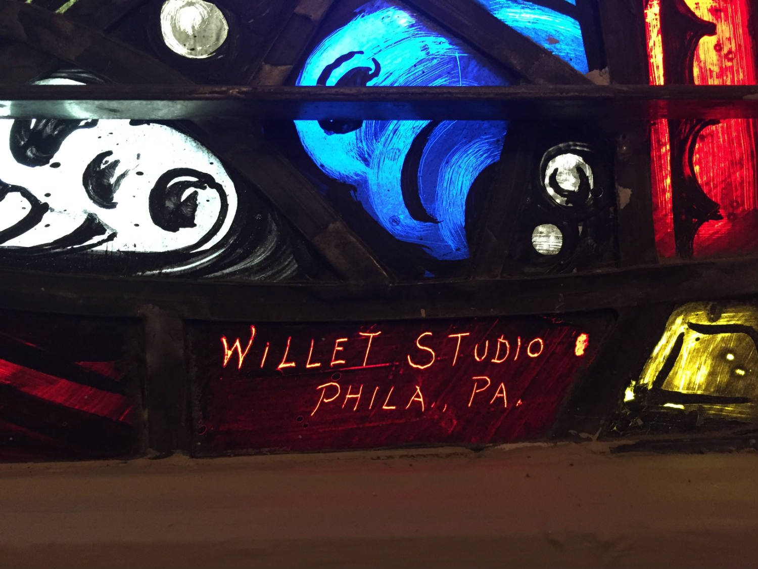 Willet Stained Glass Studio Signature on Window in Rochester, NY