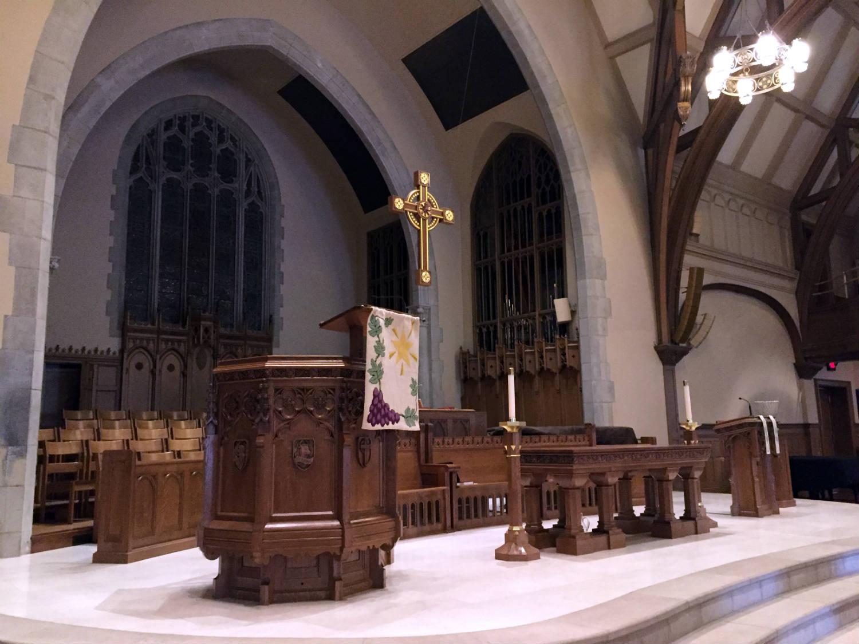 Altar in Third Presbyterian Church in Rochester, NY