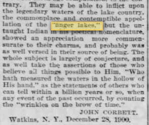 Excerpt from Democrat and Chronicle, an letter to the editor (29 December 1900)