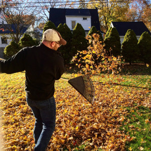Raking Leaves in Rochester, New York