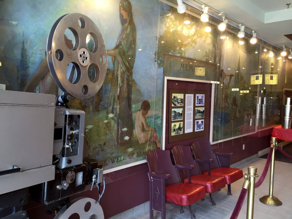 Mural and Original Theatre Chairs in Lobby of the Aurora Theatre in East Aurora, New York