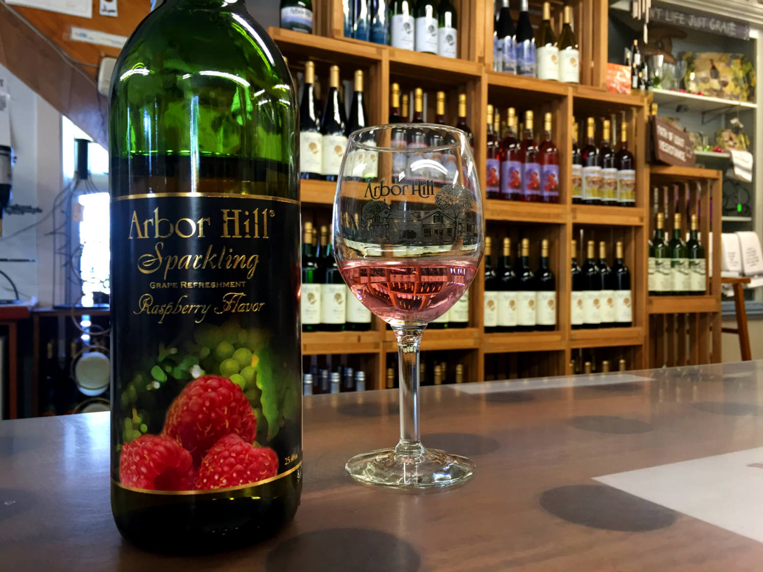 Sparkling Raspberry Juice at Arbor Hill Winery in Naples, New York