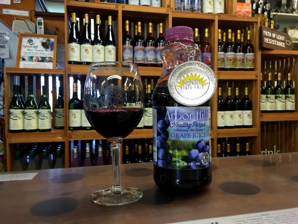 Red Concord Grape Juice at Arbor Hill Winery in Naples, New York
