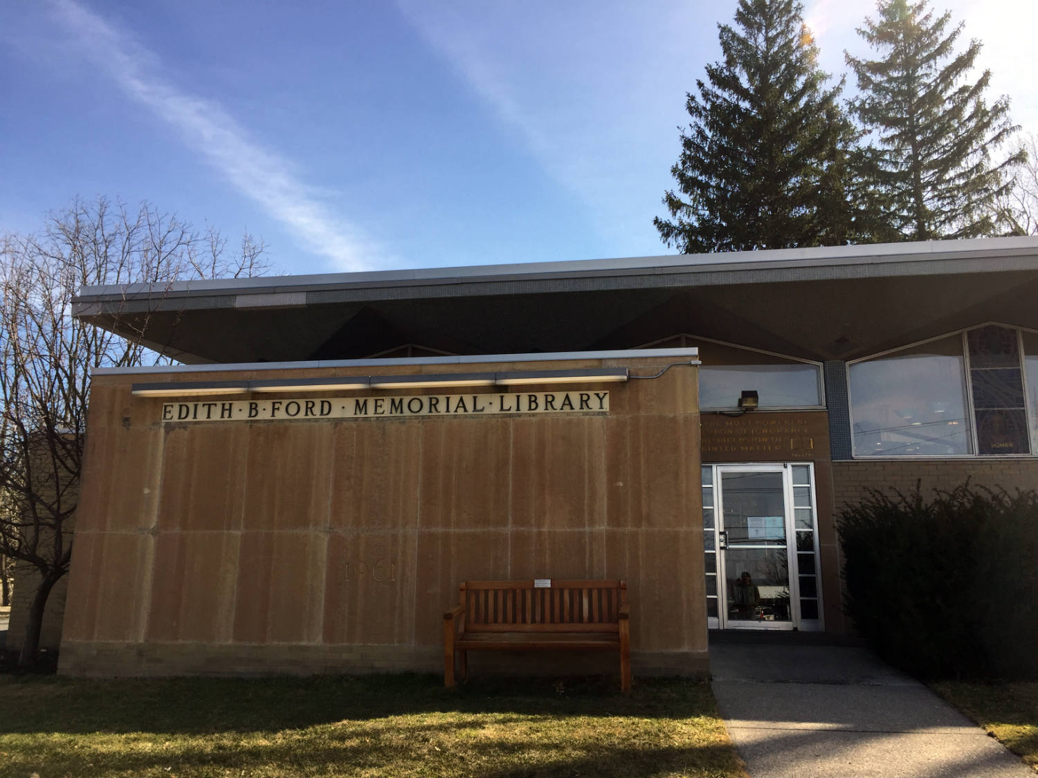 Edith B. Ford Memorial Library Entrance in Ovid, New York