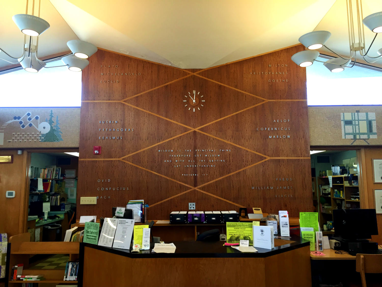 Reception Desk Inside The Edith B. Ford Memorial Library in Ovid, New York