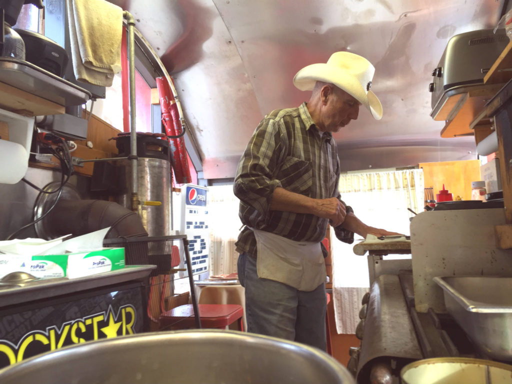 Jerry Collins of the The Black Diamond Diner in Covert, New York - World's Smallest Railroad Diner