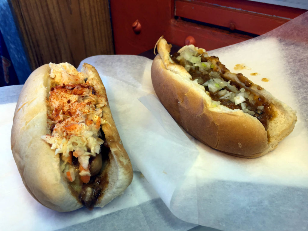 Hot Dogs at the The Black Diamond Diner in Covert, New York - World's Smallest Railroad Diner