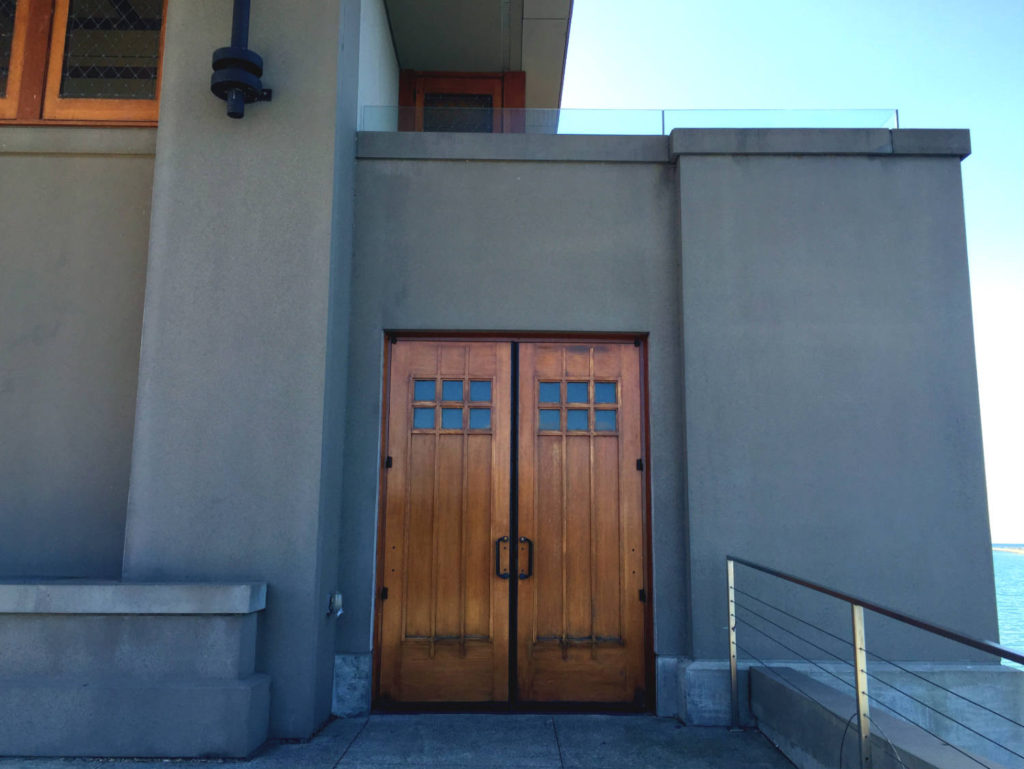Doorway at Frank Lloyd Wright Fontana Boathouse in Buffalo, New York