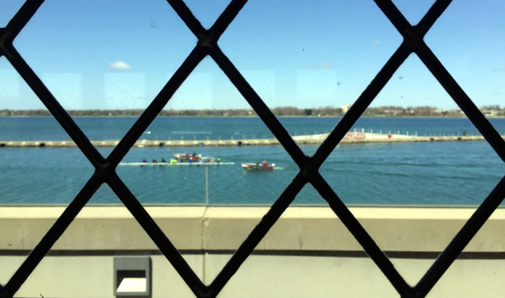 Rowers outside the Fontana Boathouse in Buffalo, New York