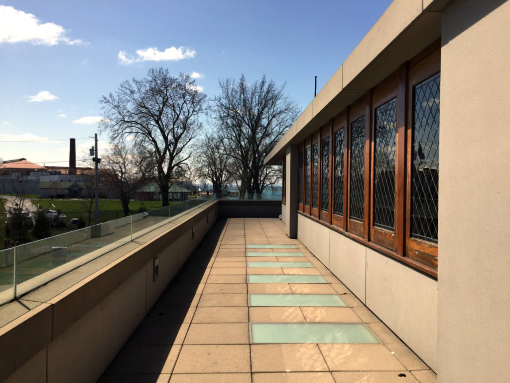 Second Floor Balcony View of Frank Lloyd Wright Fontana Boathouse in Buffalo, New York