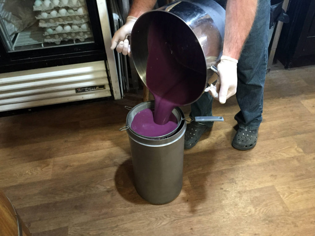 Filtering the Wild Shangri-La Berry at Spotted Duck Creamery in Penn Yan, New York