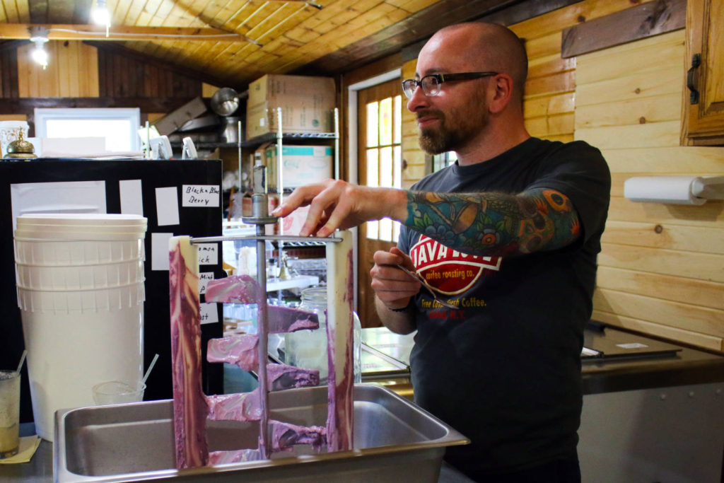 Chris Clemens at the Spotted Duck Creamery in Penn Yan, New York