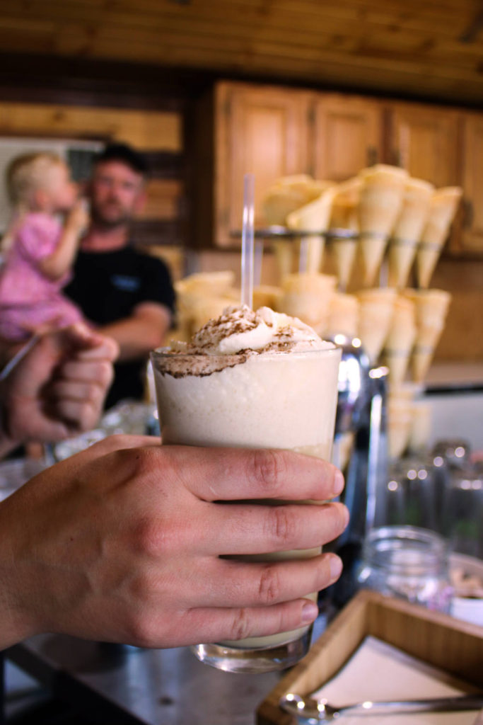 Frozen Coffee at Spotted Duck Creamery in Penn Yan, New York
