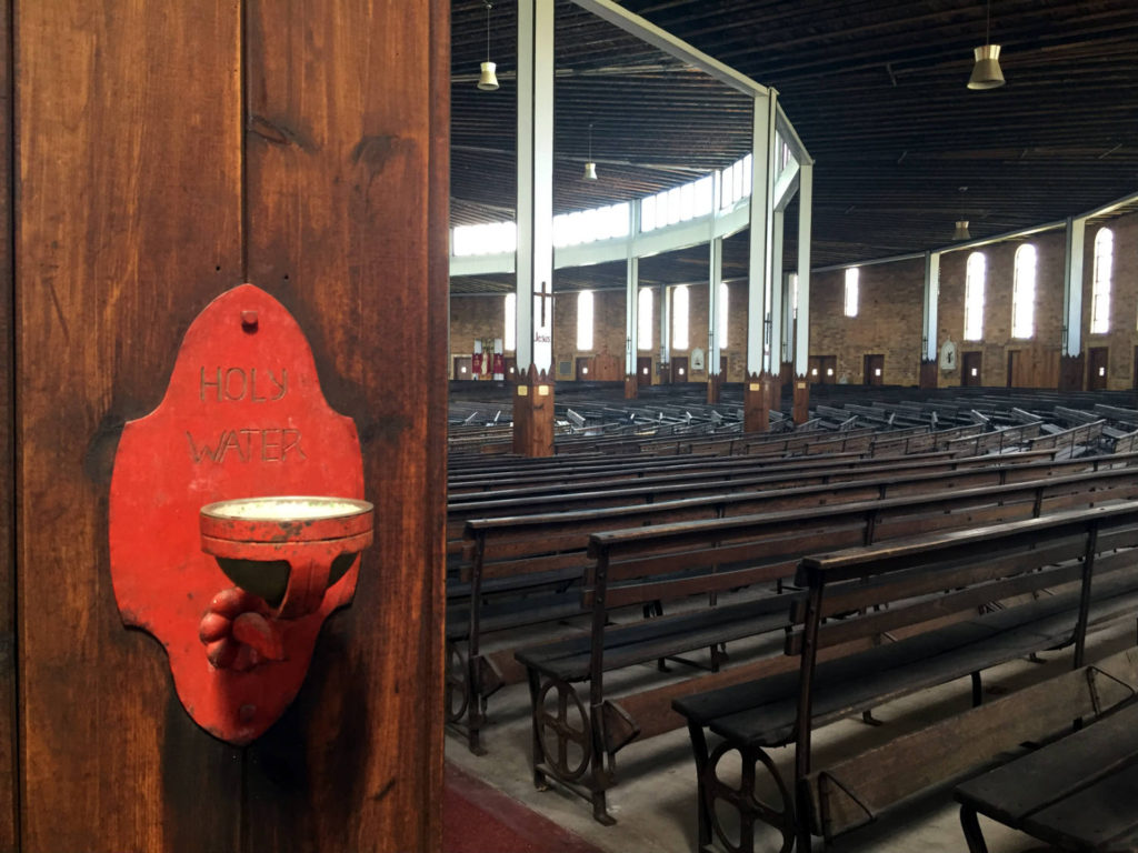 Pews in the Coliseum at the Shrine to the North American Martyrs in Auriesville, New York