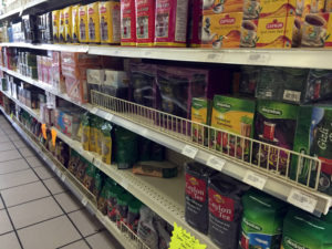 Halel Market Coffee and Tea Aisle in Rochester, New York