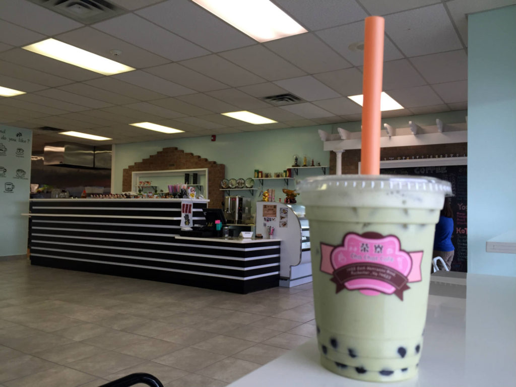 Iced Match Latte Boba at Cha Chat Cafe in Henrietta, New York