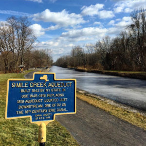 9 Mile Creek Aqueduct Historical Marker on Erie Canal in Camillus, New York