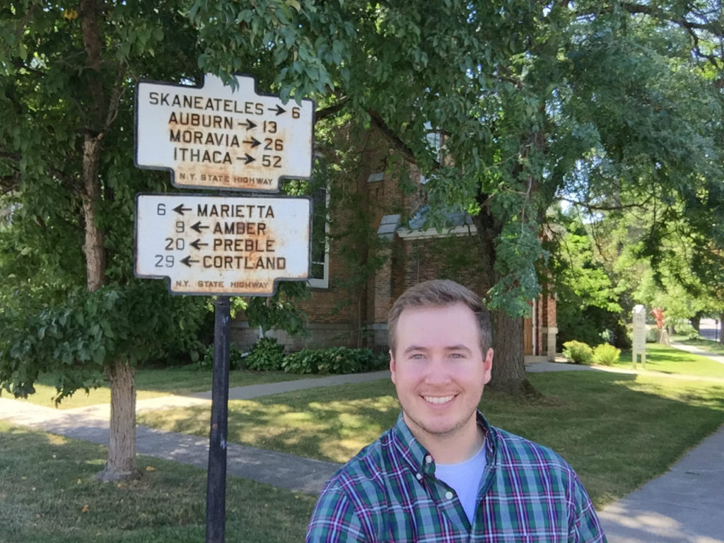 Steven Bodnar of Geneva, New York at Historical Marker