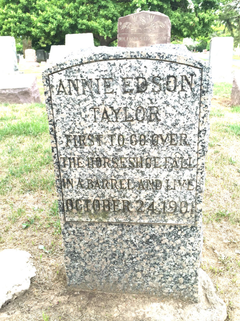 Grave of Annie Edson Taylor in Oakwood Cemetery in Niagara Falls, New York USA