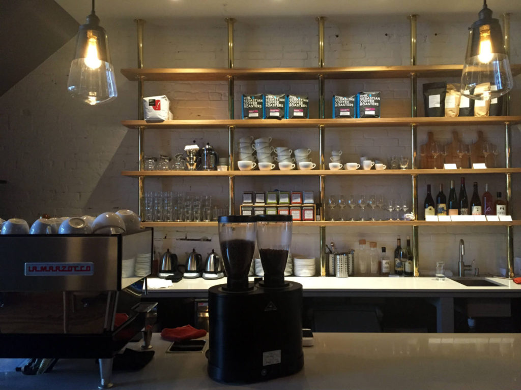 Counter and Shelves at Publick Coffee Bar in Penn Yan, New York