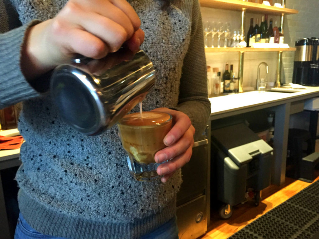 Pouring a Cortado at Publick Coffee Bar in Penn Yan, New York