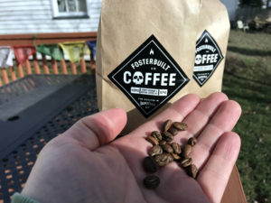 Bags of Fosterbuilt Coffee from Bovina, New York
