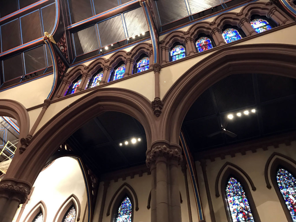 Stained Glass and Arches Inside St. Paul's Episcopal Cathedral in Buffalo, New York