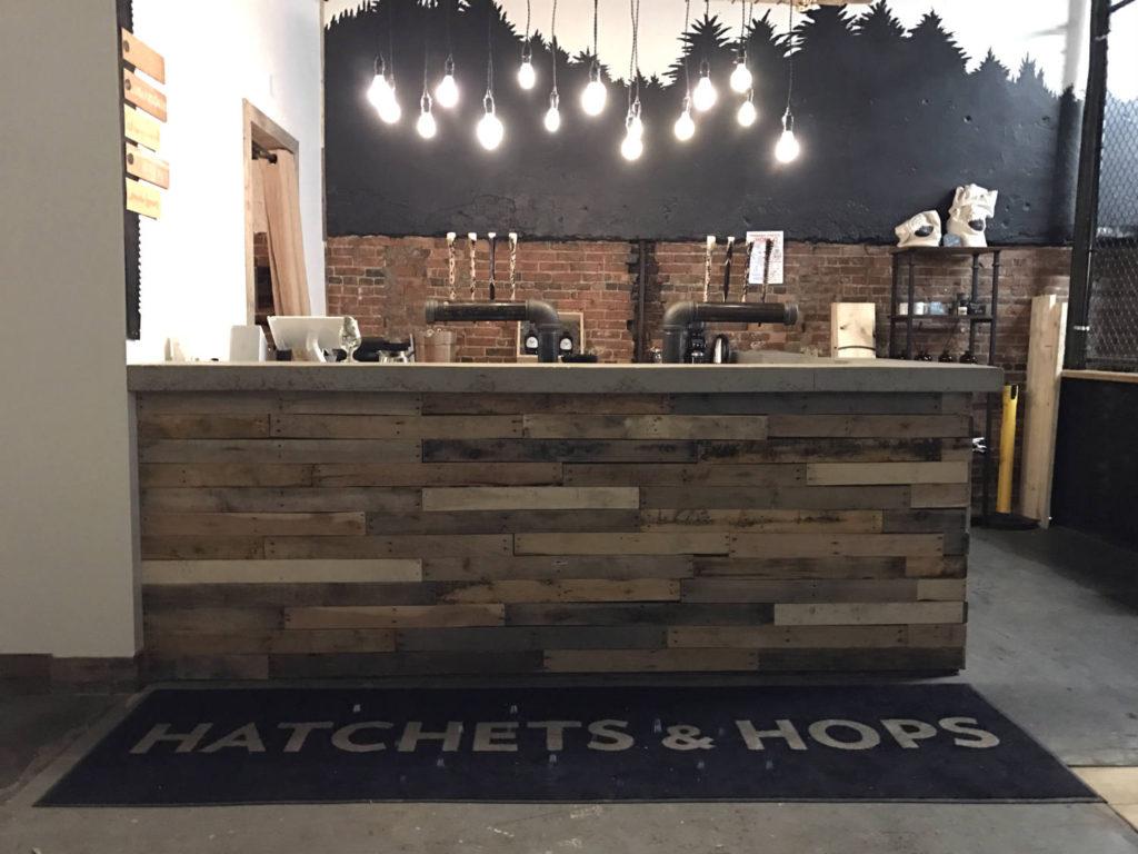 Bar at Hatchets and Hops in Buffalo, NY