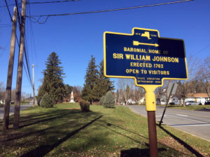 Historic Sign and Statue of Sir William Johnson in Johnstown, New York