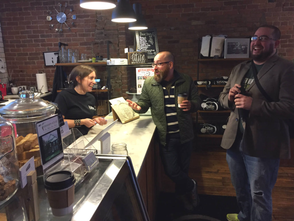 Chatting at Bite Bakery in Utica, New York