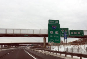 Utica New York State Thruway Sign