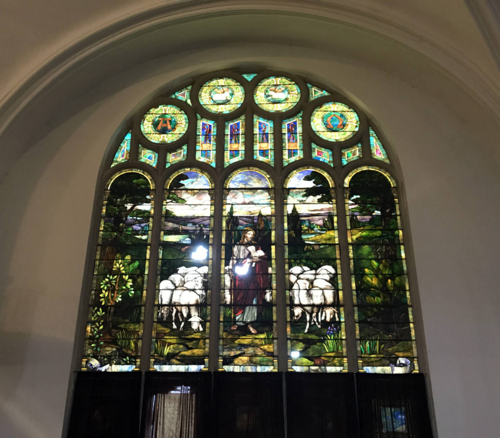 Louis Comfort Tiffany Stained Glass Window in the Karpeles Manuscript Museum in Buffalo, New York