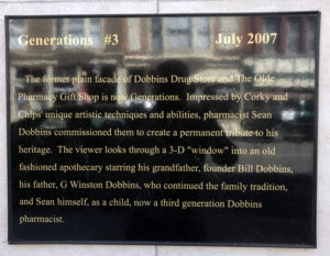 Plaque for Dobbins Drug Store Mural in Lyons, New York