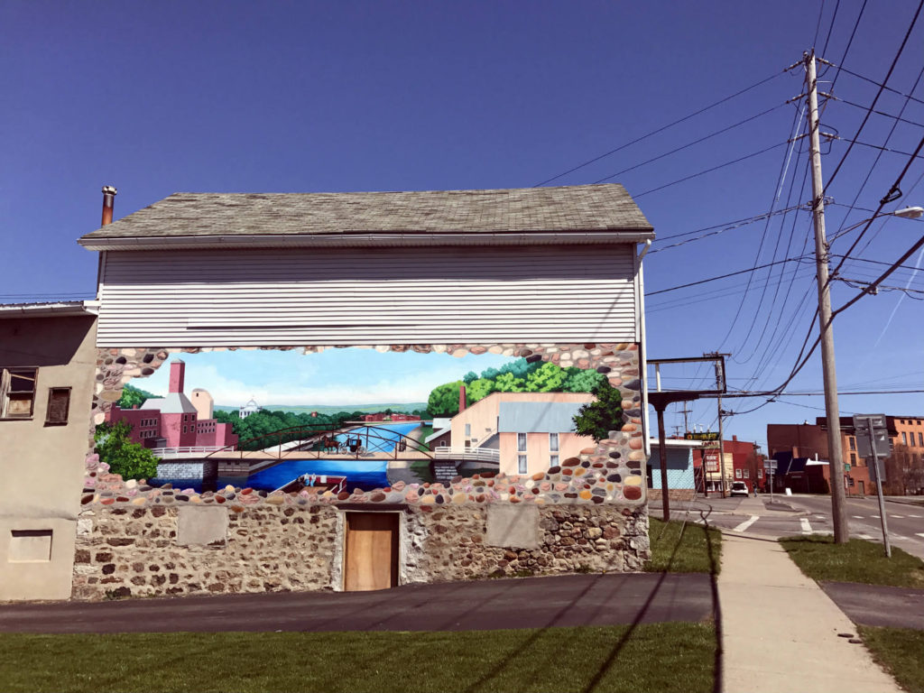 Canal Mural on Auto Parts Store in Lyons, New York