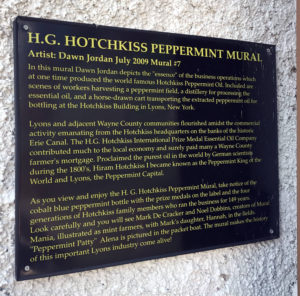 Plaque for Hotchkiss Mural in Lyons, New York