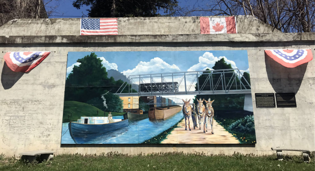 Erie Canal Mural in Dobbins Park in Lyons, New York