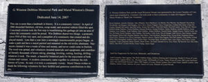 Plaque for Mural in Dobbins Park in Lyons, New York