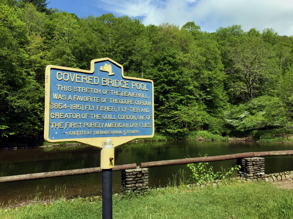 Covered Bridge Pool Historical Marker in Roscoe, New York