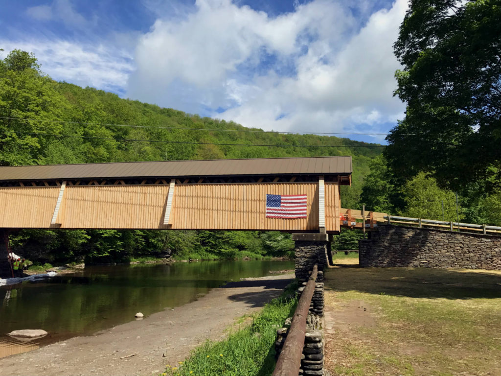 The Beaverkill Covered Bridge in Roscoe, New York in Sullivan County