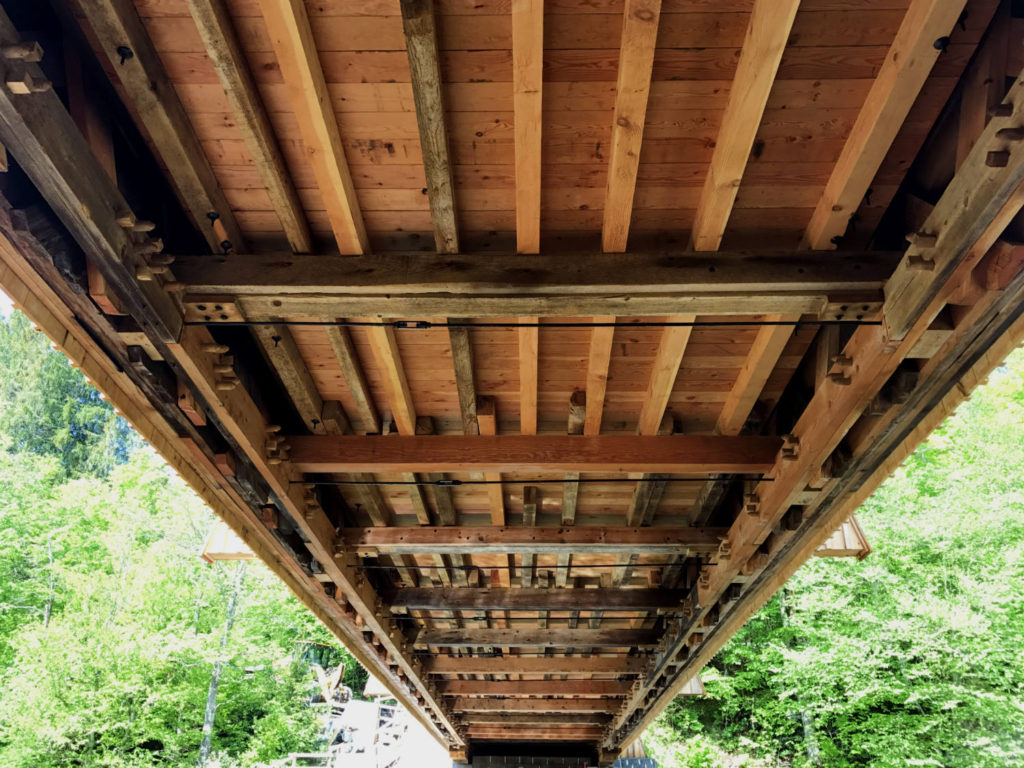 Underneath the Beaverkill Covered Bridge in Roscoe, New York