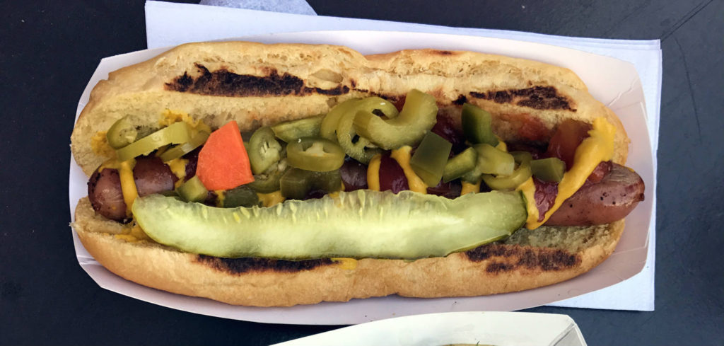 Frank's Gourmet Hot Dog at Larkin Square in Buffalo, New York