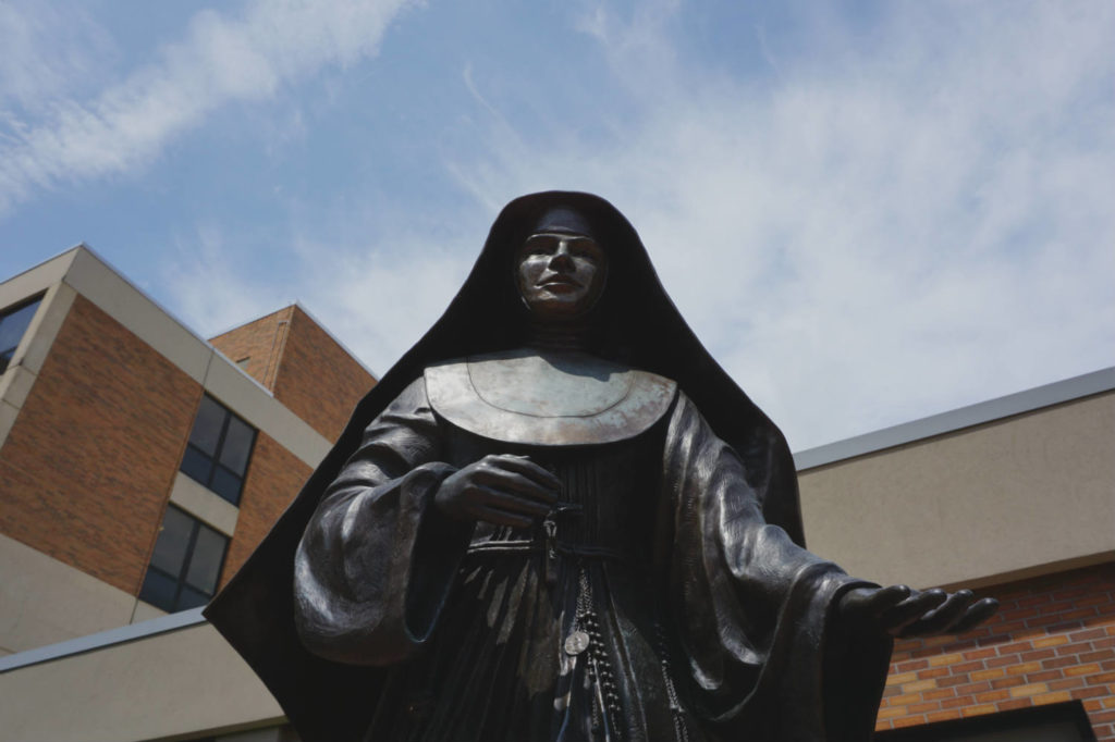 Statue of Saint Marianne Cope at the Shrine and Museum in Syracuse, New York