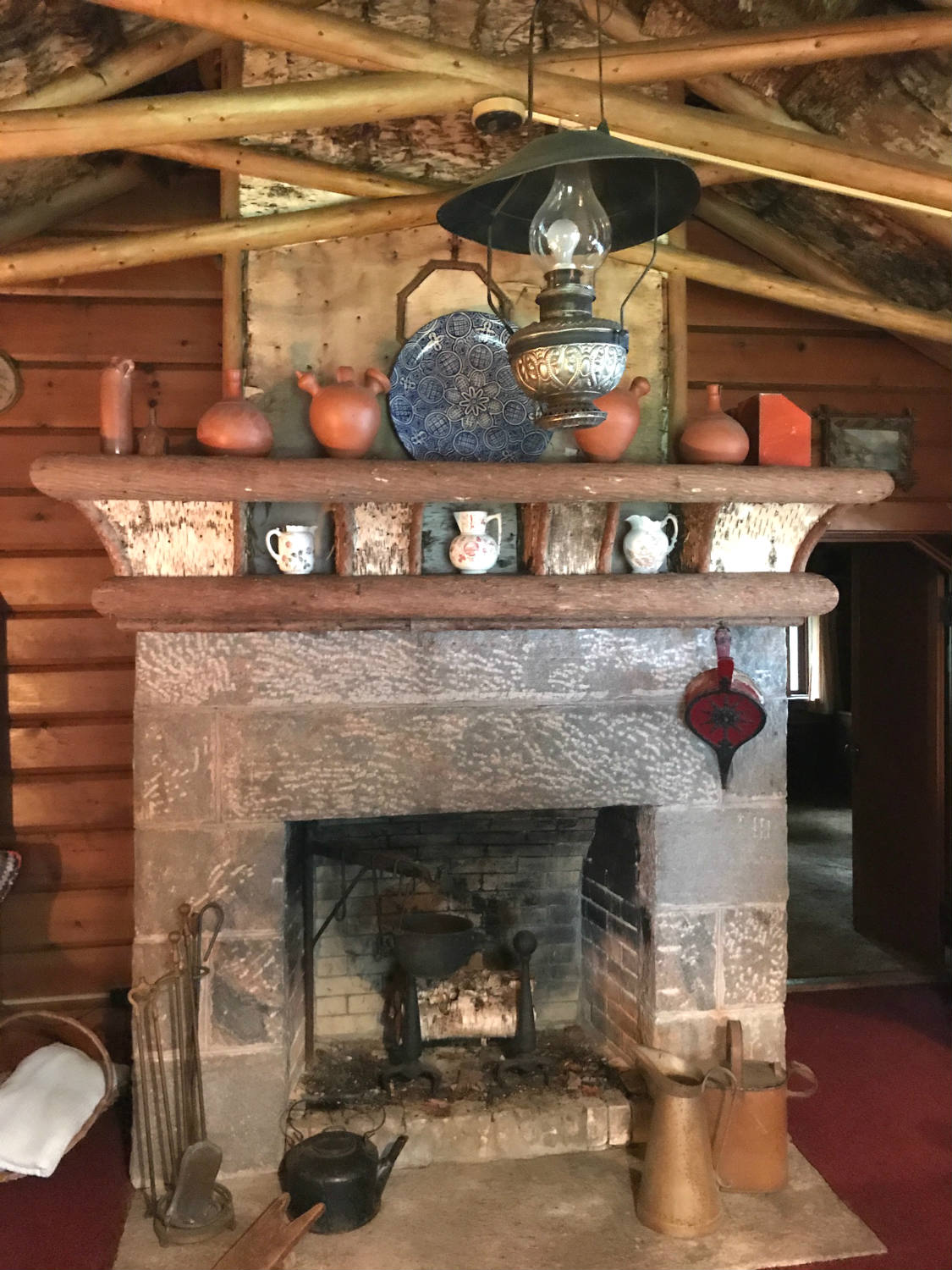 Fireplace in the Durant Cabin at Camp Pine Knot in the Adirondacks