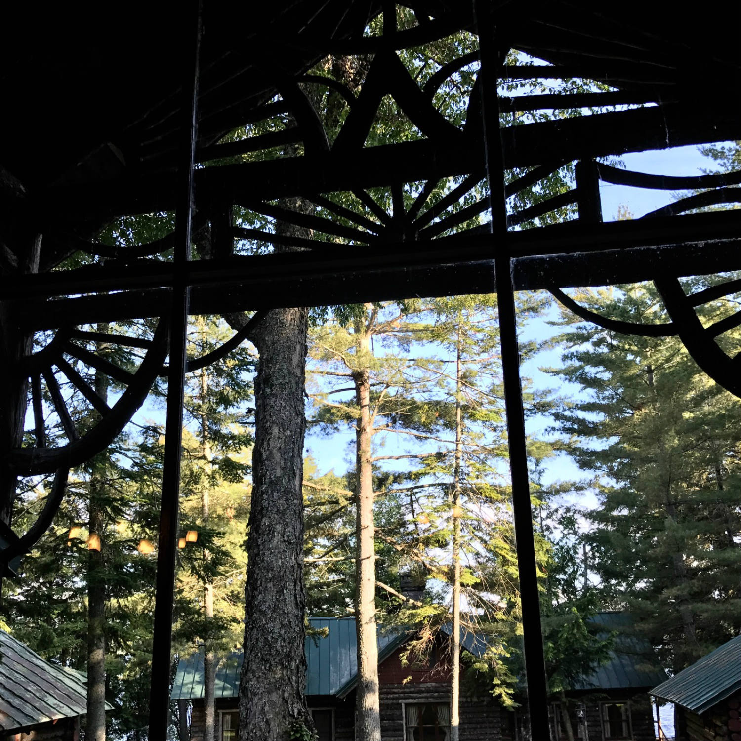 Looking out from the Porch of the Lodge at Camp Pine Knot in the Adirondacks