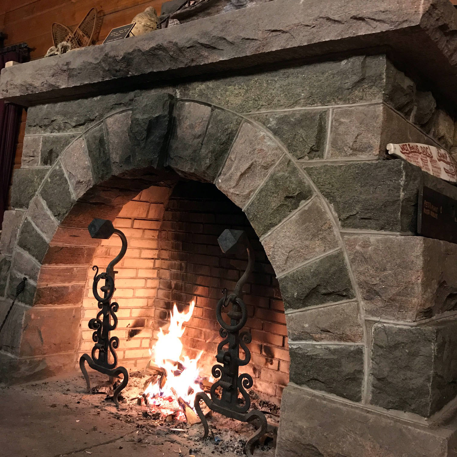 Fireplace Inside the Metcalf Lodge at Camp Pine Knot in the Adirondacks